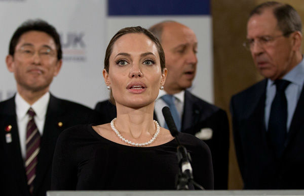 US actress Angelina Jolie, in her role as UN envoy, talks during a news conference regarding sexual violence against women in conflict, during the G8 Foreign M