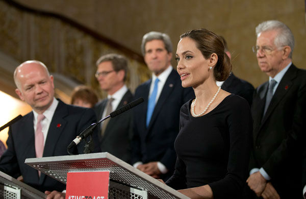 "<div class=""meta image-caption""><div class=""origin-logo origin-image ""><span></span></div><span class=""caption-text"">Angelina Jolie, in her role as UN envoy, talks during a news conference regarding sexual violence against women in conflict during the G8 Foreign Ministers meeting in London on Thursday, April, 11, 2013. The ministers are meeting in London as Britain currently holds the G8 Presidency, with the heads of government G8 meeting set for June in Northern Ireland. (AP Photo/ Alastair Grant)</span></div>"