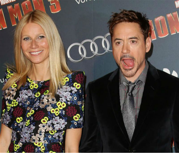 Gwyneth Paltrow gets to witness Robert Downey Jr.&#39;s playful shenanigans at the premiere of &#39;Iron Man 3&#39; in Paris, France on April 14, 2013. <span class=meta>(Aldo Verretti &#47; Startraksphoto.com)</span>