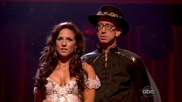 "<div class=""meta ""><span class=""caption-text "">Actor and comedian Andy Dick and his partner Sharna Burgess await their fate on 'Dancing With The Stars: The Results Show' on April 16, 2013. The pair received 18 out of 30 points from the judges for their Paso Doble on week 5 of 'Dancing With The Stars,' which aired on April 15, 2013. (ABC Photo / Adam Taylor)</span></div>"