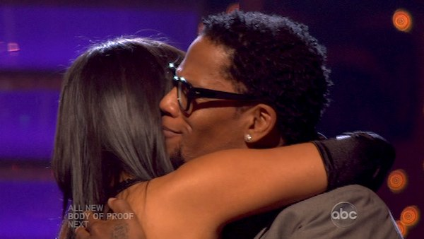 "<div class=""meta image-caption""><div class=""origin-logo origin-image ""><span></span></div><span class=""caption-text"">Actor and comedian D.L. Hughley and his partner Cheryl Burke react to being eliminated on 'Dancing With The Stars: The Results Show' on April 16, 2013. The pair received 18 out of 30 points from the judges for their Tango on week 5 of 'Dancing With The Stars,' which aired on April 15, 2013. (ABC Photo / Adam Taylor)</span></div>"