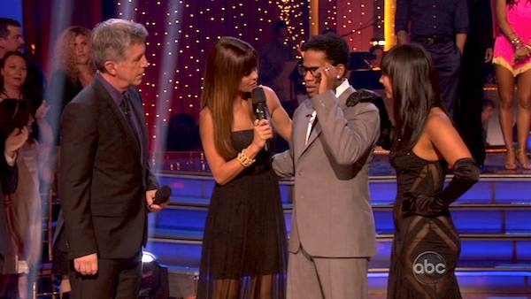 Actor and comedian D.L. Hughley and his partner Cheryl Burke react to being eliminated on &#39;Dancing With The Stars: The Results Show&#39; on April 16, 2013. The pair received 18 out of 30 points from the judges for their Tango on week 5 of &#39;Dancing With The Stars,&#39; which aired on April 15, 2013. <span class=meta>(ABC Photo &#47; Adam Taylor)</span>
