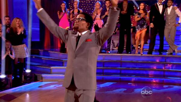 "<div class=""meta ""><span class=""caption-text "">Actor and comedian D.L. Hughley and his partner Cheryl Burke react to being eliminated on 'Dancing With The Stars: The Results Show' on April 16, 2013. The pair received 18 out of 30 points from the judges for their Tango on week 5 of 'Dancing With The Stars,' which aired on April 15, 2013. (ABC Photo / Adam Taylor)</span></div>"