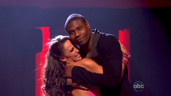 NFL star Jacoby Jones and his partner Karina Smirnoff react to being safe from elimination on &#39;Dancing With The Stars: The Results Show&#39; on April 16, 2013. The pair received 26 out of 30 points from the judges for their Jive on week 5 of &#39;Dancing With The Stars,&#39; which aired on April 15, 2013. <span class=meta>(ABC Photo &#47; Adam Taylor)</span>