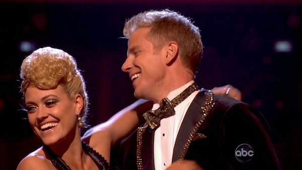 "<div class=""meta ""><span class=""caption-text "">Former 'Bachelor' star Sean Lowe and his partner Peta Murgatroyd react to being safe from elimination on 'Dancing With The Stars: The Results Show' on April 16, 2013. The pair received 24 out of 30 points from the judges for their Quickstep on week 5 of 'Dancing With The Stars,' which aired on April 15, 2013. (ABC Photo/ Adam Taylor)</span></div>"