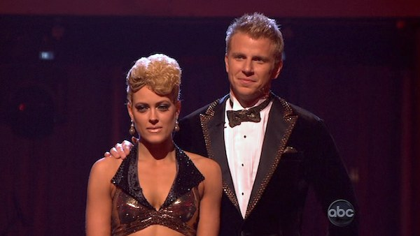 Former &#39;Bachelor&#39; star Sean Lowe and his partner Peta Murgatroyd await their fate on &#39;Dancing With The Stars: The Results Show&#39; on April 16, 2013. The pair received 24 out of 30 points from the judges for their Quickstep on week 5 of &#39;Dancing With The Stars,&#39; which aired on April 15, 2013. <span class=meta>(ABC Photo &#47; Adam Taylor)</span>