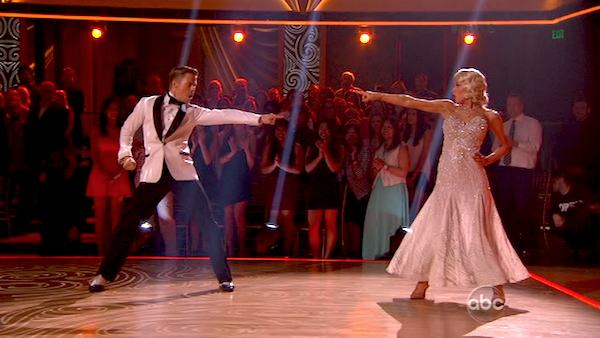 "<div class=""meta image-caption""><div class=""origin-logo origin-image ""><span></span></div><span class=""caption-text"">Kellie Pickler and regular partner Derek Hough dance the Foxtrot alongside pro dancers Henry Byalikov and Anna Trebunskaya on week five of 'Dancing With The Stars' on April 15, 2013. They received 27 out of 30 points from the judges. (ABC Photo / Adam Taylor)</span></div>"
