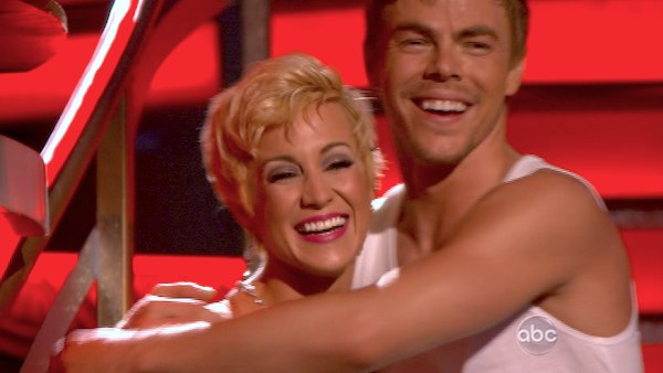 "<div class=""meta ""><span class=""caption-text "">Kellie Pickler and Derek Hough react to being safe from elimination on 'Dancing With The Stars: The Results Show' on April 16, 2013. The pair received 27 out of 30 points from the judges for their Foxtrot on week 5 of 'Dancing With The Stars,' which aired on April 15, 2013. (ABC Photo / Adam Taylor)</span></div>"