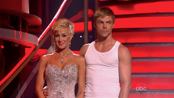 Kellie Pickler and Derek Hough await their fate on &#39;Dancing With The Stars: The Results Show&#39; on April 16, 2013. The pair received 27 out of 30 points from the judges for their Foxtrot on week 5 of &#39;Dancing With The Stars,&#39; which aired on April 15, 2013. <span class=meta>(ABC Photo &#47; Adam Taylor)</span>