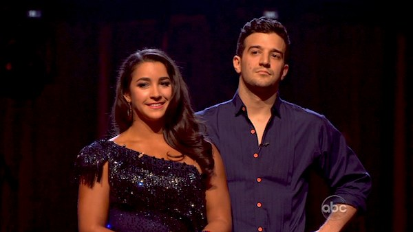Olympic gymnast Aly Raisman and her partner Mark Ballas await their fate on &#39;Dancing With The Stars: The Results Show&#39; on April 16, 2013. The pair received 25 out of 30 points from the judges for their Samba routine on week 5 of &#39;Dancing With The Stars,&#39; which aired on April 15, 2013. <span class=meta>(ABC)</span>