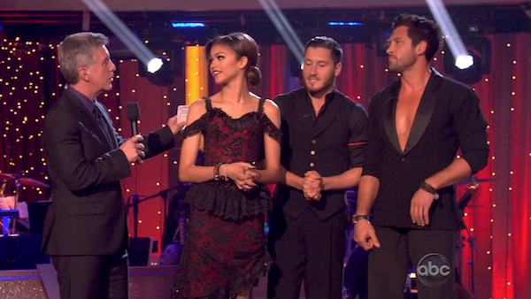 Zendaya and Val Chmerkovskiy await their fate on &#39;Dancing With The Stars: The Results Show&#39; on April 16, 2013. The pair received 29 out of 30 points from the judges for their Argentine Tango on week 5 of &#39;Dancing With The Stars,&#39; which aired on April 15, 2013. <span class=meta>(ABC Photo &#47; Adam Taylor)</span>