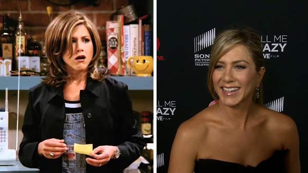 Left -- Jennifer Aniston appears in a still from 'Friends.' Right -- Jennifer Aniston appears at Lifetime's 'Call Me Crazy' premiere on April 16, 2013.