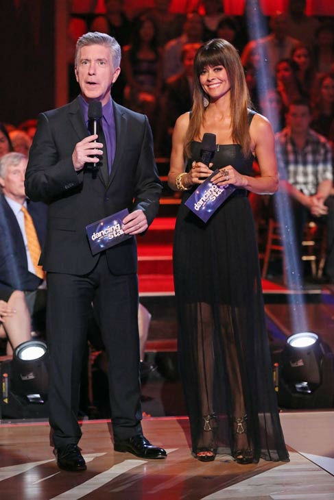 "<div class=""meta ""><span class=""caption-text "">Tom Bergeron and Brooke Burke-Charvet appear on 'Dancing With The Stars: The Results Show' on April 16, 2013. (ABC/Adam Taylor)</span></div>"