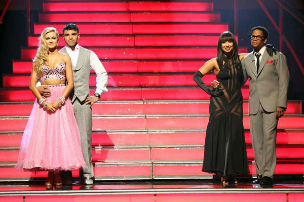 "<div class=""meta ""><span class=""caption-text "">Boxer Victor Ortiz, his partner Lindsay Arnold, D.L. Hughley and his partner Cheryl Burke await their fate on 'Dancing With The Stars: The Results Show' on April 16, 2013. (ABC/Adam Taylor)</span></div>"