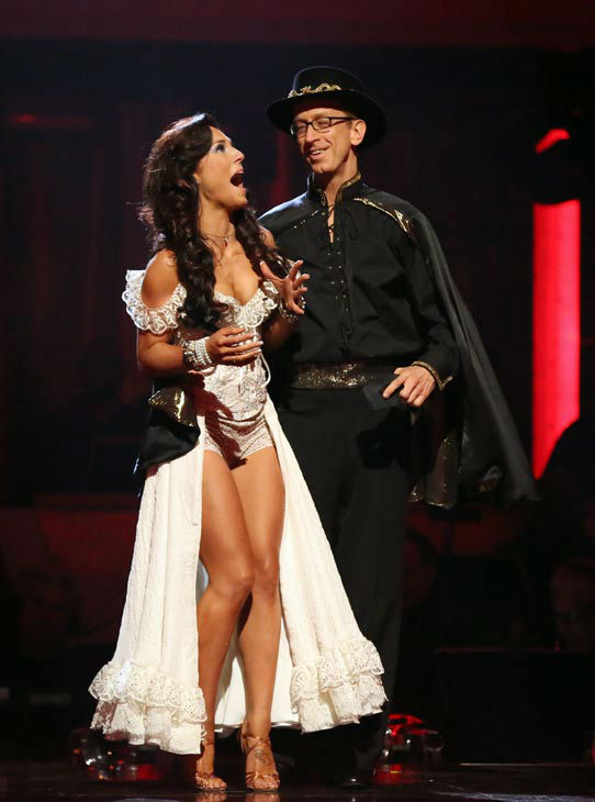 Actor and comedian Andy Dick and his partner Sharna Burgess react to being safe from elimination on &#39;Dancing With The Stars: The Results Show&#39; on April 16, 2013. The pair received 18 out of 30 points from the judges for their Paso Doble on week five of &#39;Dancing With The Stars,&#39; which aired on April 15, 2013. <span class=meta>(ABC&#47;Adam Taylor)</span>
