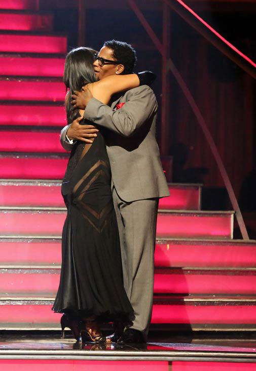 "<div class=""meta ""><span class=""caption-text "">Actor and comedian D.L. Hughley and his partner Cheryl Burke react to being eliminated on 'Dancing With The Stars: The Results Show' on April 16, 2013. The pair received 18 out of 30 points from the judges for their Tango on week five of 'Dancing With The Stars,' which aired on April 15, 2013. (ABC/Adam Taylor)</span></div>"