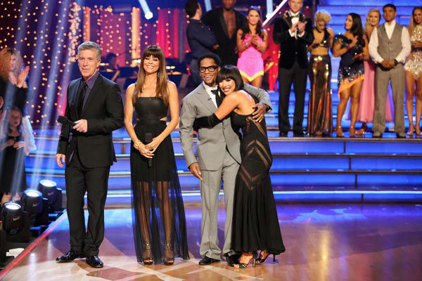 Actor and comedian D.L. Hughley and his partner Cheryl Burke react to being eliminated on &#39;Dancing With The Stars: The Results Show&#39; on April 16, 2013. The pair received 18 out of 30 points from the judges for their Tango on week five of &#39;Dancing With The Stars,&#39; which aired on April 15, 2013. <span class=meta>(ABC&#47;Adam Taylor)</span>