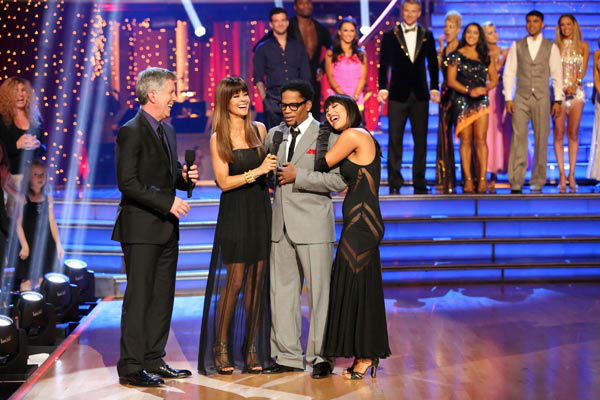 Actor and comedian D.L. Hughley and his partner Cheryl Burke react to being eliminated on 'Dancing With The Stars: The Results Show' on April 16, 2013.