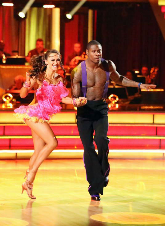 NFL star Jacoby Jones and his partner Karina Smirnoff performed an encore of their Jive routine on &#39;Dancing With The Stars: The Results Show&#39; on April 16, 2013. They had earned a a score of 26 out of 30 points for their performance on April 15, 2013. <span class=meta>(ABC&#47;Adam Taylor)</span>
