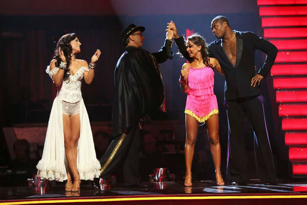 "<div class=""meta ""><span class=""caption-text "">NFL star Jacoby Jones and his partner Karina Smirnoff react to being safe from elimination on 'Dancing With The Stars: The Results Show' on April 16, 2013. The pair received 26 out of 30 points from the judges for their Jive on week five of 'Dancing With The Stars,' which aired on April 15, 2013. (ABC/Adam Taylor)</span></div>"
