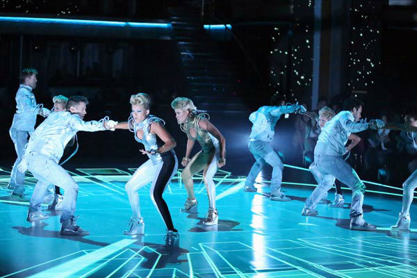 'Dancing With The Stars: The Results Show' featured a futuristic opening number choreographed by pros Mark Ballas and Derek Hough on April 16, 2013.