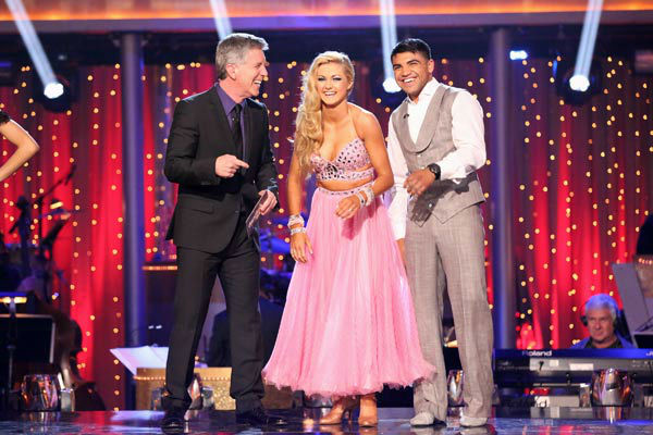 Boxer Victor Ortiz and his partner Lindsay Arnold await their fate on 'Dancing With The Stars: The Results Show' on April 16, 2013.