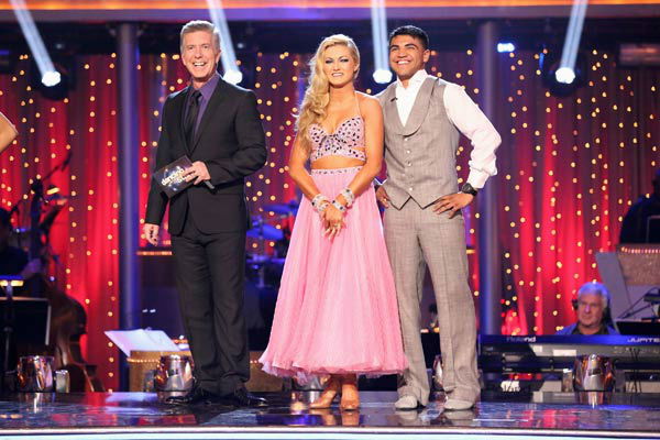 "<div class=""meta ""><span class=""caption-text "">Boxer Victor Ortiz and his partner Lindsay Arnold await their fate on 'Dancing With The Stars: The Results Show' on April 16, 2013. The pair received 21 out of 30 points from the judges for their Viennese Waltz on week five of 'Dancing With The Stars,' which aired on April 15, 2013.  (ABC/Adam Taylor)</span></div>"