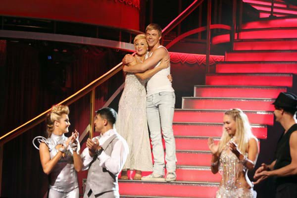 "<div class=""meta ""><span class=""caption-text "">Kellie Pickler and Derek Hough react to being safe from elimination on 'Dancing With The Stars: The Results Show' on April 16, 2013. The pair received 27 out of 30 points from the judges for their Foxtrot on week five of 'Dancing With The Stars,' which aired on April 15, 2013. (ABC/Adam Taylor)</span></div>"