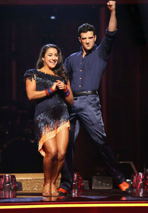 "<div class=""meta image-caption""><div class=""origin-logo origin-image ""><span></span></div><span class=""caption-text"">Olympic gymnast Aly Raisman and her partner Mark Ballas react to being safe from elimination on 'Dancing With The Stars: The Results Show' on April 16, 2013. The pair received 25 out of 30 points from the judges for their Samba routine on week five of 'Dancing With The Stars,' which aired on April 15, 2013. (ABC/Adam Taylor)</span></div>"