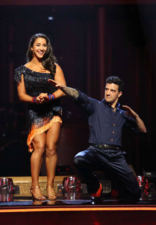 Olympic gymnast Aly Raisman and her partner Mark Ballas react to being safe from elimination on &#39;Dancing With The Stars: The Results Show&#39; on April 16, 2013. The pair received 25 out of 30 points from the judges for their Samba routine on week five of &#39;Dancing With The Stars,&#39; which aired on April 15, 2013. <span class=meta>(ABC&#47;Adam Taylor)</span>