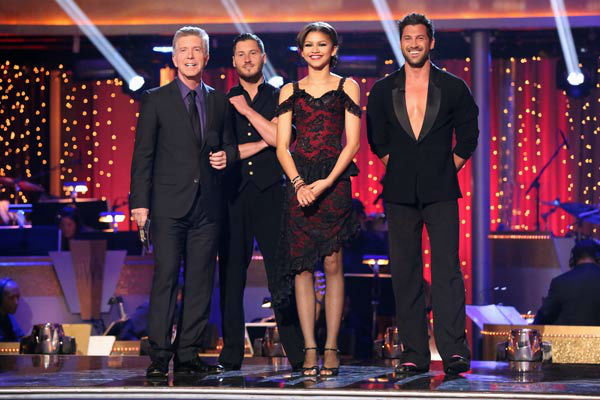 "<div class=""meta ""><span class=""caption-text "">Zendaya and Val Chmerkovskiy await their fate on 'Dancing With The Stars: The Results Show' on April 16, 2013. The pair received 29 out of 30 points from the judges for their Argentine Tango on week five of 'Dancing With The Stars,' which aired on April 15, 2013. (ABC/Adam Taylor)</span></div>"
