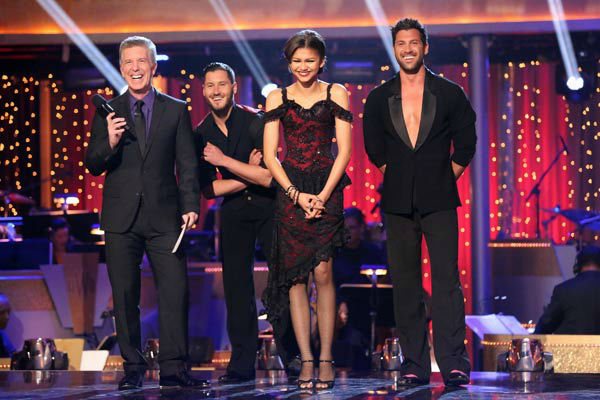 Zendaya and Val Chmerkovskiy await their fate on &#39;Dancing With The Stars: The Results Show&#39; on April 16, 2013. The pair received 29 out of 30 points from the judges for their Argentine Tango on week five of &#39;Dancing With The Stars,&#39; which aired on April 15, 2013. <span class=meta>(ABC&#47;Adam Taylor)</span>