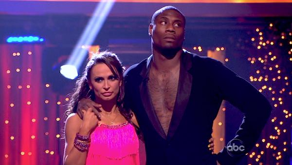 NFL star Jacoby Jones and his partner Karina Smirnoff await their fate on &#39;Dancing With The Stars: The Results Show&#39; on April 16, 2013. The pair received 26 out of 30 points from the judges for their Jive on week 5 of &#39;Dancing With The Stars,&#39; which aired on April 15, 2013. <span class=meta>(ABC Photo &#47; Adam Taylor)</span>