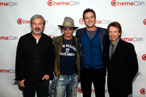 Director Gore Verbinski, actor Johnny Depp, actor Armie Hammer and producer Jerry Bruckheimer arrive at The Walt Disney Studios Motion Pictures presentation to promote their upcoming film, &#39;The Lone Ranger&#39; at Caesars Palace during CinemaCon, the official convention of the National Association of Theatre Owners on April 17, 2013 in Las Vegas, Nevada. <span class=meta>(Photo&#47;Isaac Brekken&#47;Walt Disney Studios)</span>