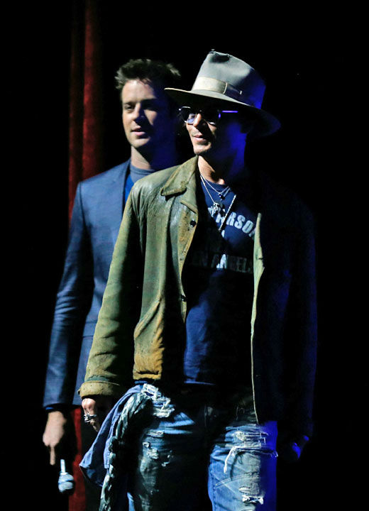 Actors Johnny Depp and Armie Hammer appear at The Walt Disney Studios Motion Pictures presentation to promote their upcoming film, &#39;The Lone Ranger&#39; at Caesars Palace during CinemaCon, the official convention of the National Association of Theatre Owners on April 17, 2013 in Las Vegas, Nevada. <span class=meta>(Photo&#47;Isaac Brekken&#47;Walt Disney Studios)</span>