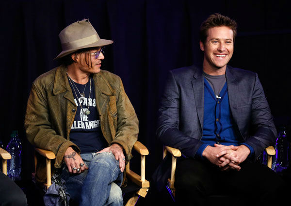 "<div class=""meta ""><span class=""caption-text "">Actor Johnny Depp (L) and actor Armie Hammer attend 'The Lone Ranger' fan event and global trailer launch at the AMC Town Square 18 theatres on April 17, 2013 in Las Vegas, Nevada. (Photo/Isaac Brekken/Walt Disney Studios)</span></div>"