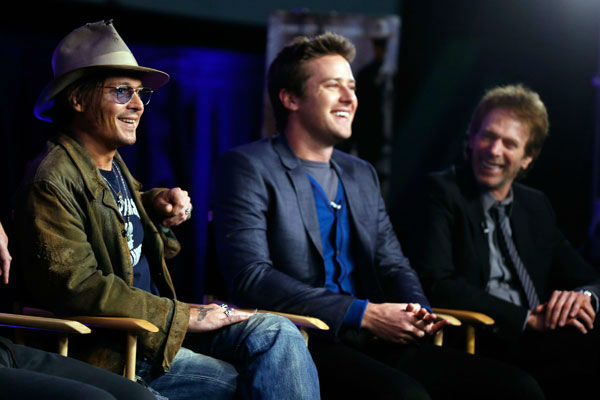 "<div class=""meta ""><span class=""caption-text "">Actor Johnny Depp, actor Armie Hammer and producer Jerry Bruckheimer attend 'The Lone Ranger' fan event and global trailer launch at the AMC Town Square 18 theatres on April 17, 2013 in Las Vegas, Nevada. (Photo/Isaac Brekken/Walt Disney Studios)</span></div>"