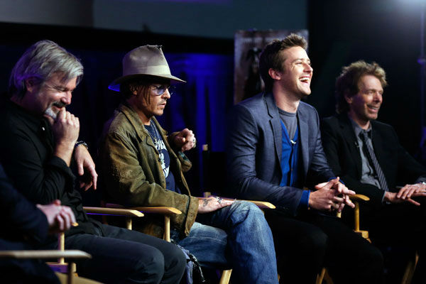 Director Gore Verbinski, actor Johnny Depp, actor Armie Hammer and producer Jerry Bruckheimer attend &#39;The Lone Ranger&#39; fan event and global trailer launch at the AMC Town Square 18 theatres on April 17, 2013 in Las Vegas, Nevada. <span class=meta>(Photo&#47;Isaac Brekken&#47;Walt Disney Studios)</span>