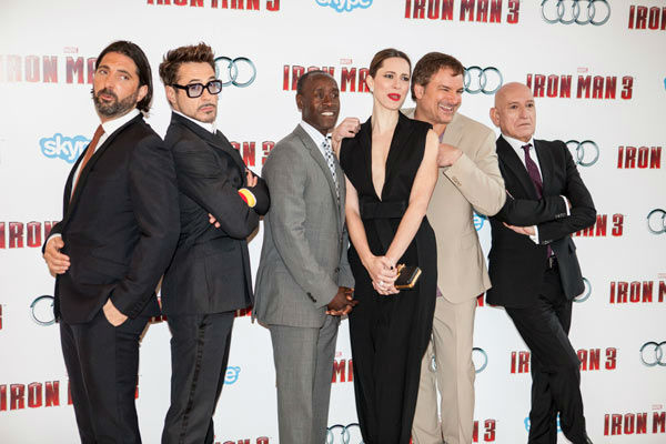 Actor Robert Downey Jr. and cast at the European tour of 'Marvel's Iron Man 3' - Special Screening on April 18, 2013 at Odeon Leicester Square, London, England.