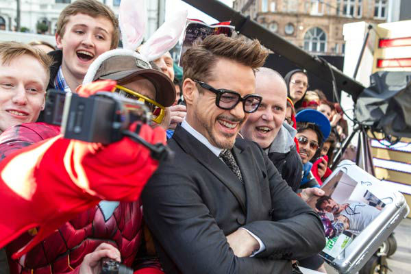 Actor Robert Downey Jr. at the European tour of 'Marvel's Iron Man 3' - Special Screening on April 18, 2013 at Odeon Leicester Square, London, England.
