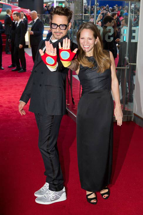 Actor Robert Downey Jr. and his wife at the European tour of &#39;Marvel&#39;s Iron Man 3&#39; - Special Screening on April 18, 2013 at Odeon Leicester Square, London, England. <span class=meta>(JamesGillham&#47;StingMedia)</span>