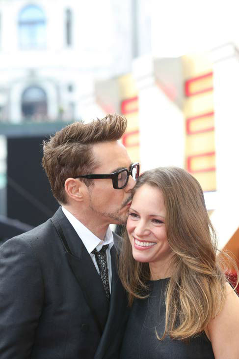 Actor Robert Downey Jr. and his wife at the European tour of 'Marvel's Iron Man 3' - Special Screening on April 18, 2013 at Odeon Leicester Square, London, England.