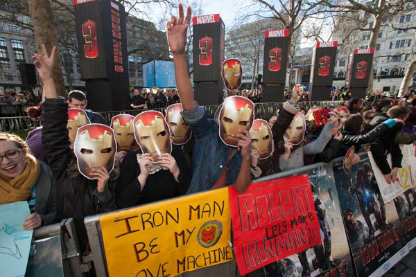 Fans at the European tour of 'Marvel's Iron Man 3' - Special Screening on April 18, 2013 at Odeon Leicester Square, London, England.