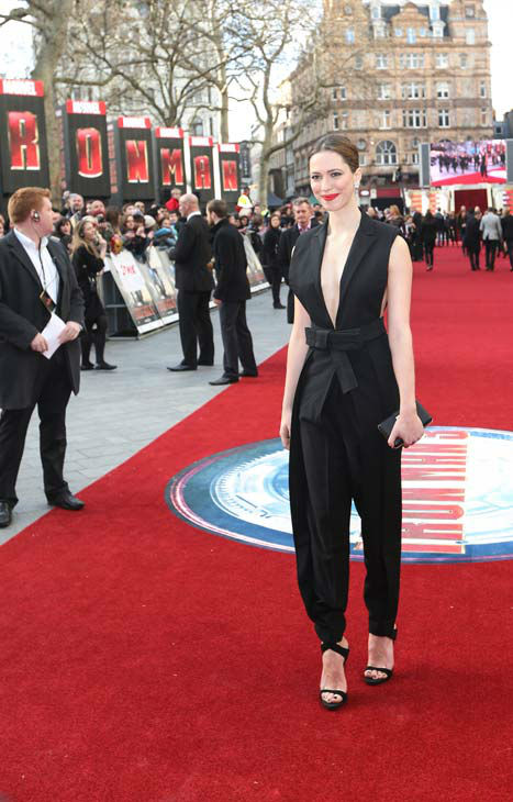 Actor Rebecca Hall at the European tour of 'Marvel's Iron Man 3' - Special Screening on April 18, 2013 at Odeon Leicester Square, London, England.