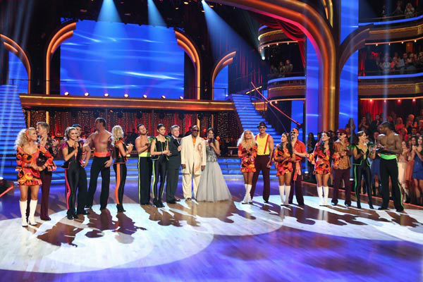 Kellie Pickler, Derek Hough, Lindsay Arnold, Victor Ortiz, Ingo Rademacher, Kym Johnson, Val Chmerkovskiy, Zendaya, Tom Bergeron, Stevie Wonder, Brooke Burke-Charvet, Peta Murgatroyd, Sean Lowe, Alexandra Raisman, Mark Ballas, Sharna Burgess, Andy Dick, Karina Smirnoff and Jacoby Jones appear on &#39;Dancing With The Stars&#39; on April 22, 2013. <span class=meta>(ABC Photo&#47; Adam Taylor)</span>