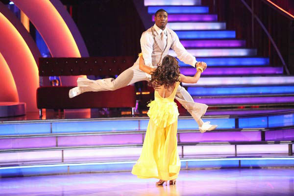 NFL star Jacoby Jones and regular partner Karina Smirnoff dance the Quickstep on week six of 'Dancing With The Stars' on April 22, 2013.