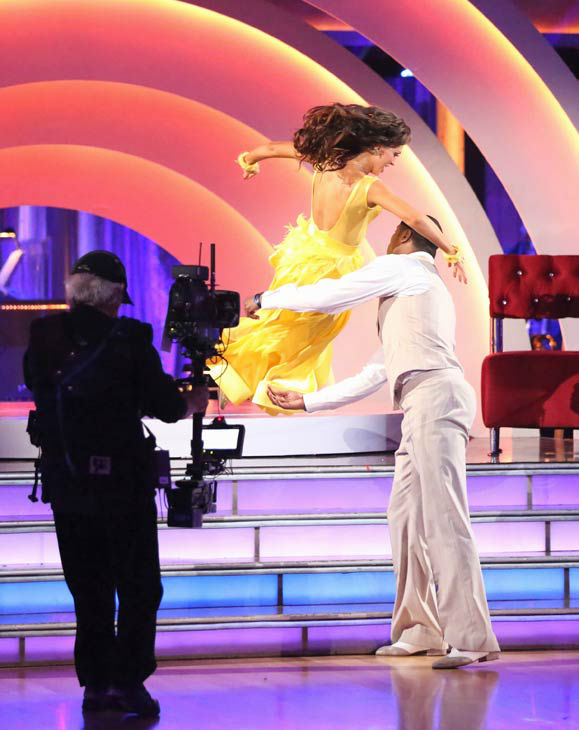 NFL star Jacoby Jones and regular partner Karina Smirnoff dance the Quickstep on week six of &#39;Dancing With The Stars&#39; on April 22, 2013. They received 23 out of 30 points from the judges. <span class=meta>(ABC Photo&#47; Adam Taylor)</span>
