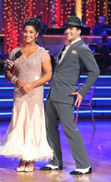 Olympic gymnast Aly Raisman and her partner Mark Ballas dance the Foxtrot on week six of 'Dancing With The Stars' on April 22, 2013.