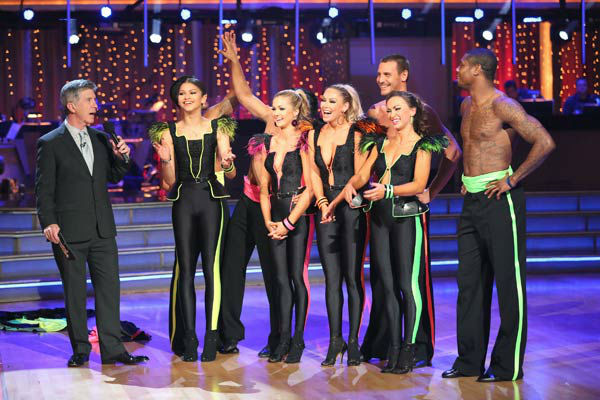 "<div class=""meta ""><span class=""caption-text "">Zendaya, Ingo Rademacher, Victor Ortiz, Jacoby Jones and their partners perform a team Paso Doble dance on week six of 'Dancing With The Stars,' which aired on April 22, 2013. They received a score of 22 out of 30 from the judges. (ABC Photo/ Adam Taylor)</span></div>"
