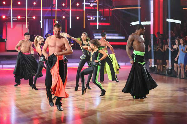 Zendaya, Ingo Rademacher, Victor Ortiz, Jacoby Jones and their partners perform a team Paso Doble dance on week six of 'Dancing With The Stars,' which aired on April 22, 2013.